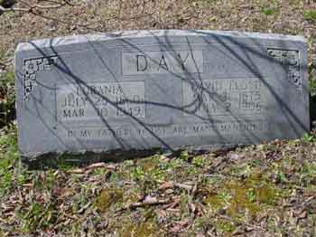 Tombstone of Lurania Smith Day and David Floyd Day
