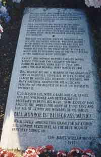 Memorial Inscription by Son of Bill Monroe - James William Monroe - Inscribed 1997